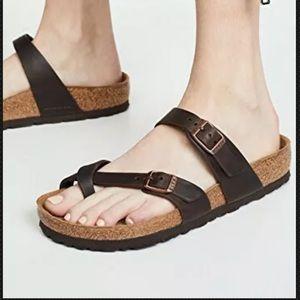 Birkenstock Mayari Mocha Birkibuc Toe Loop Sandals